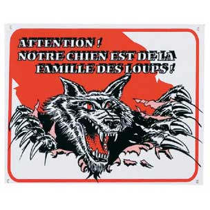 Plaque de garde chien loup