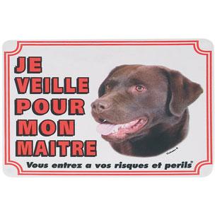 plaque de garde labrador chocolat