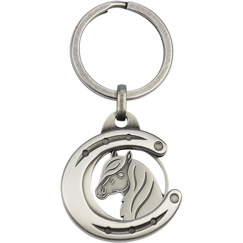 """Porte-clés jeton """"Fer à cheval avec tête de cheval"""""""