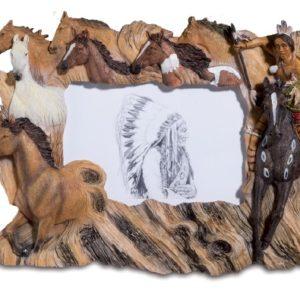 Cadre photo indien avec chevaux