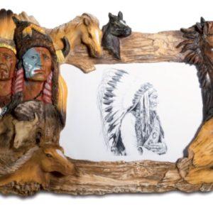 Cadre photo figurine Indien et Chevaux