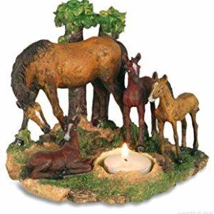 Figurine bougeoir jument avec 3 poulains
