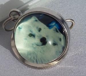 porte clef rond loup blanc