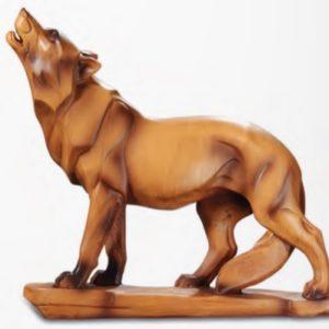 Figurine loup imitation bois